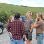 Peter King talks to the producers about the day plan for shooting.