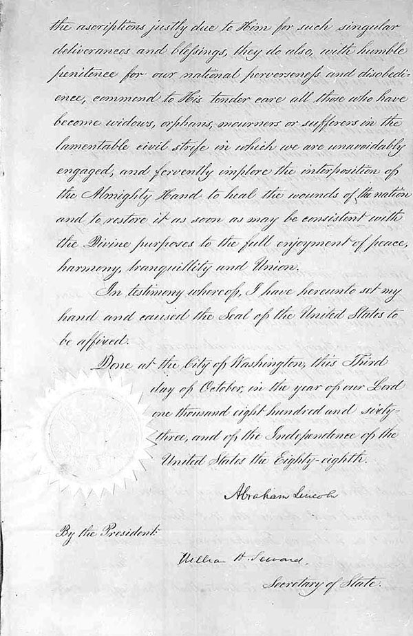 Page 3 of President Lincoln's Thanksgiving Day Proclamation