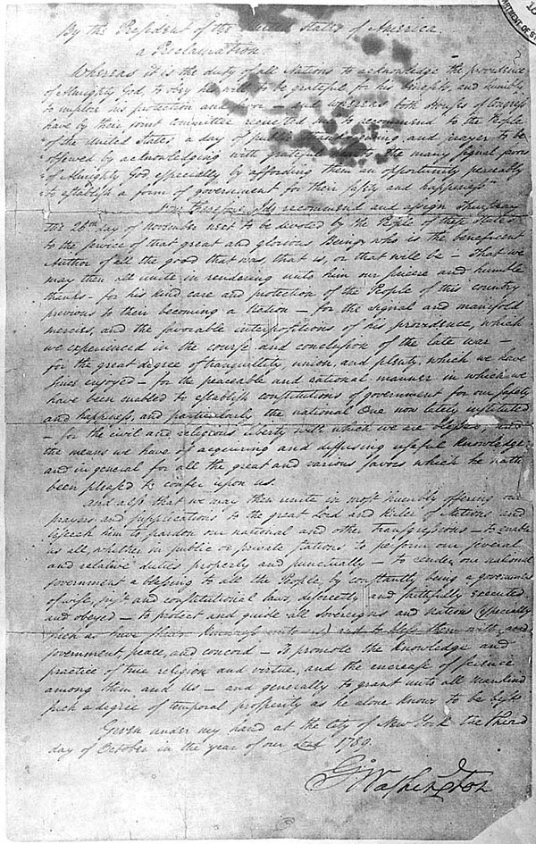 President Washington's Thanksgiving proclamation