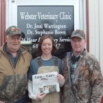 Dave Kraeer and P.G. Bown took a side trip on their vacation/pheasant hunting trip to visit Bown's daughter, Dr. Stephanie Bown, at the Webster Veterinary Clinic in Webster, S.D. Bown, a 2008 graduate of the Ohio State School of Veterinary Medicine, practiced in Barnesville, Ohio, for two years before joining the practice in South Dakota. We're glad you brought Farm and Dairy along as a little piece of home!