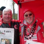 """Farm and Dairy advertising staff member Sean Flanagan, (left), of Struthers, Ohio, """"Buckeye Bob"""" Coady and friend Shawn tailgate outside the """"shoe"""" at the Ohio State versus Michigan game Nov. 24. OSU won the game 26-21, capping an undefeated season for the sixth time in history. Farm and Dairy came along for the ride, and the celebration after!"""