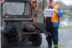 John Dewell, of Scio, Ohio, went wild hog hunting in the mountains of Tennessee. He got a nice boar and Farm and Dairy was there to record the kill! He shot it with a 1895 Marlin 45-70. Dewell is hoping to go bear hunting out West next year.