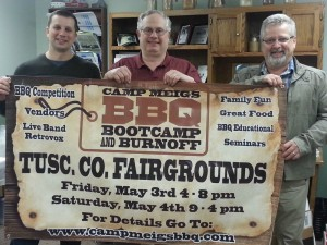 (Submitted photo) Think you've got what it takes to be a pitmaster? Put your barbecue skills to the test in a competitive barbecue event May 3-4 to benefit  Community Hospice of Tuscarawas. Organizers include (L-R) Steve Quillin, Tuscarawas County Farm Bureau president; Jim Rowe, dairy farmer and general chairperson for the event; and Dave Potts, of New Philadelphia, burnoff chairperson.