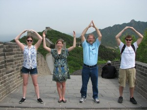 While in China earlier this summer (L-R), Kaleigh O'Hara, Katie Bauer, Dr. Maurice Eastridge, and Derrick Freshcorn expressed some Buckeye spirit atop the Great Wall.