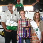 Bethany Crouch's grand champion dairy goat fudge basket sold for $375 to Millstone Farm and Garden Center, represented by Eldon Falb.