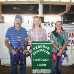 Rebecca Bock's reserve champion carcass lamb, weighing 128 pounds, sold for $3.50 a pound to Joe Ramsey of Ramsey Hoof Trimming.
