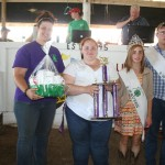 Aubrey Shaffer's reserve champion dairy goat fudge basket sold for $300 to Wishau Hollow Rabbitry, represented by Katie Houk.
