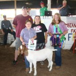 Lauren Hippely's reserve champion goat weighing 87-pound sold for $8 a pound to Dwight Lang and Lisa Miller.