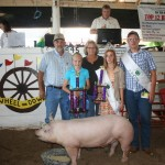 Haley Jones won reserve outstanding youth project in the hog division, as well as junior showmanship honors. Kiko Meats, represented by Ron and Diane Kiko, paid $2.50 a pound for her hog.