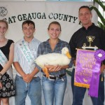 Katie Zsebedics' grand champion duck, weighing 9.03 pounds, sold for $2,000 a pound to Geauga Vision, represented by John Bruening.