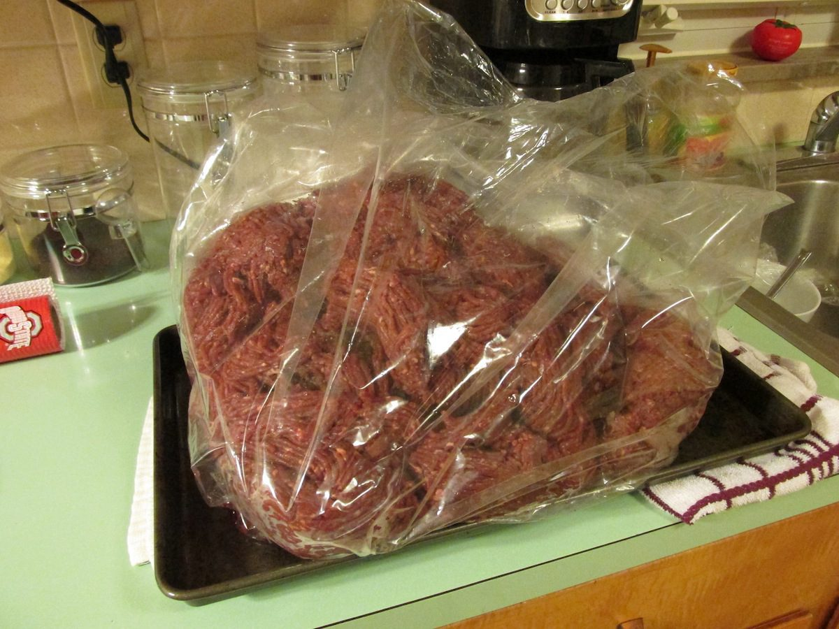 A large package of ground venison.