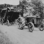 Tom Downing, of Ellwood City, Pa. submitted this photo of the late Lee Brown, of Perry Township. Downing said it appears Brown had just left his home farm at the top of the hill, on what is now Armstrong Road. He is driving a Fordson tractor and towing a wooden Frick thresher.