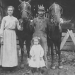 (Submitted by Barbara Gill)Taken in Hesston, Pennsylvania in 1907, this photo shows Bertha Corcellus, Peter Corcellus and their daughter, Carrie Corcellus. Carrie was born in 1902.