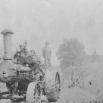 (Submitted by Jay Haines)Taken in the summer of 1917, this picture shows Noble Wiley (left), Harold O. Haines (center), and Carles W. Haines, grading a road in Noble County, Ohio.