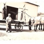 Jim Sheffield submitted this photo, taken in Pittsfield Township, Ohio. In the photo Henry Sheffield stands on the wagon, driving the team of horses (named Bill and Tom), and his son Jim Sheffield stands by the standard. Henry's father, Fred Sheffield, stands on the ground.