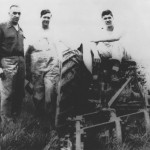 Albert (A.J.) Loudon, Nick Althouse and Homer Althouse pause for a quick photo during a 1953 test of this plow on a farm near Salem, Ohio. It must've been a good trial, because Nick Althouse bought the plow!