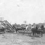 """John R. Dutton Sr., of Mineral City, Ohio, shares this photo c. 1914 that shows a full lineup of family members and others. With the side-delivery rake, pulled by horses Don and Roy, is E.C. Dutton; in the carriage is Harriet Edna Ryan Dutton, and children Evangeline, about age 4, and Dwight """"Tom"""", about age 3; and the other individuals' identity isn't certain, but John R. Dutton Sr. writes they may be: E.G. Dutton, Harrison Romig, Jim Romig, Henry Sproul and Geroge Hina."""