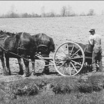 (Submitted by  Ila Mix)Delbert Mix working on his family's farm in 1943. The barn is still standing and is on state Route 225, in Deerfield, Ohio. Delbert and his wife Darleen now live in Ellsworth, Ohio.