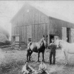 (Submitted by Arden Bryan)Rush and Merle Bryan, and his grandparents' Ashtabula County farm on Stanhope Kelloggsville Road, near Leon, Ohio, in 1913. His father, Harold Bryan, is one of the youngsters seated in front, on the left, with his younger brother. When his grandfather moved to the farm from Parks Road, Sycamore, he rode in the railroad cattle car with his 10 cows and horses. Mr. Bryan shares a great story: Seems his father graduated from Dorset High School, but his brother graduated from nearby Andover High School. When Arden asked his father why, his father said his brother didn't want to ride the horse to Dorset, so he and the neighbor boys walked to Leon, and rode the train to Andover!