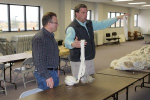 Roger High (left) and Dave Rowe, at Mid-States Wool Growers Co-op