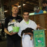Trent Jordan's pen of grand champion ducks sold to Glenn Leppo, of Leppo Rents, for $375 — a new Summit County Fair record.