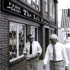 Farm and Dairy Publisher Wayne Darling and Editor Elden R. Groves, back in the days of the wide ties. Both men, now deceased, shaped the paper through much of the last 50 years.