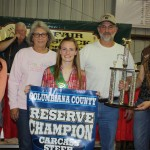 Betty Richey's reserve champion carcass steer sold for $2.50 a pound to Kiko Meats, represented by Diane and Ron Kiko.