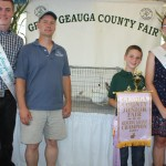 Jacob Grinstead's reserve champion pen of rabbits, which weighed 13.50 pounds, sold to Geauga Feed and Grain, represented by Kevin O'Reilly, for $55 a pound.
