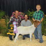 Chance Rains raised the reserve champion meat goat, weighing 90 pounds, which sold for $6.50 a pound to McCullough Fencing, represented by John (left) and David McCullough.